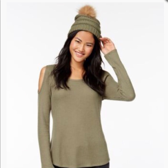 c00924f6d Olive Green Knit Pom Pom hat with matching shirt. NWT